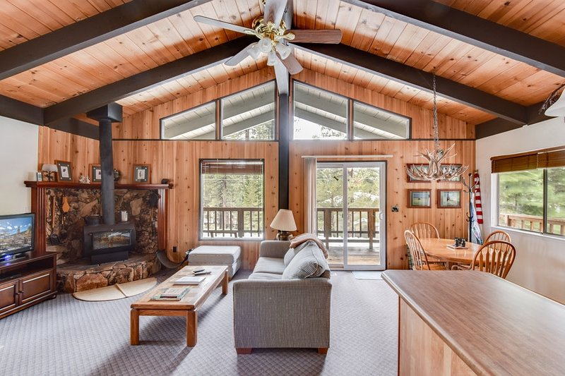 Classic Tahoe cabin with open living space and access to the deck