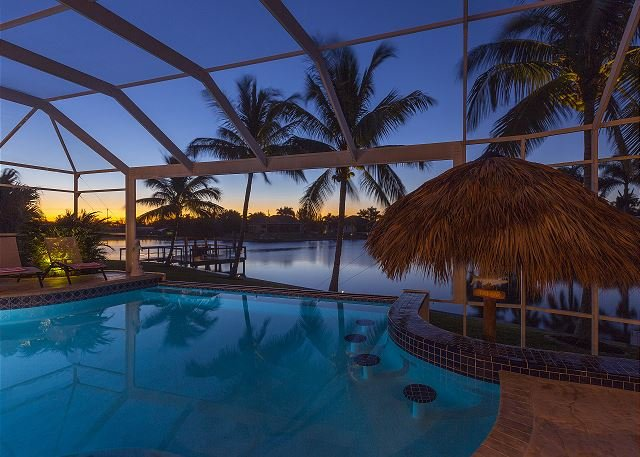 Enjoy the sunrise in the tiki bar pool!
