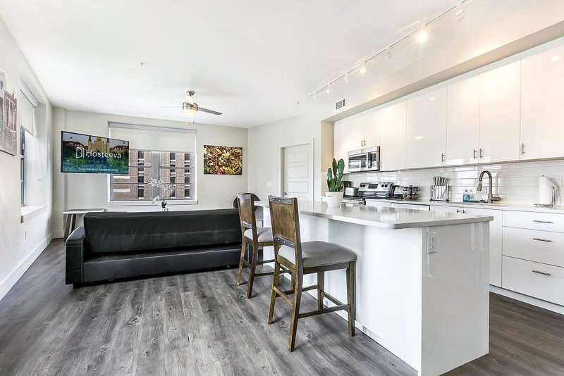 Living room with kitchen area