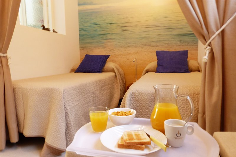 The beds, the breakfast and the sea in the blackground