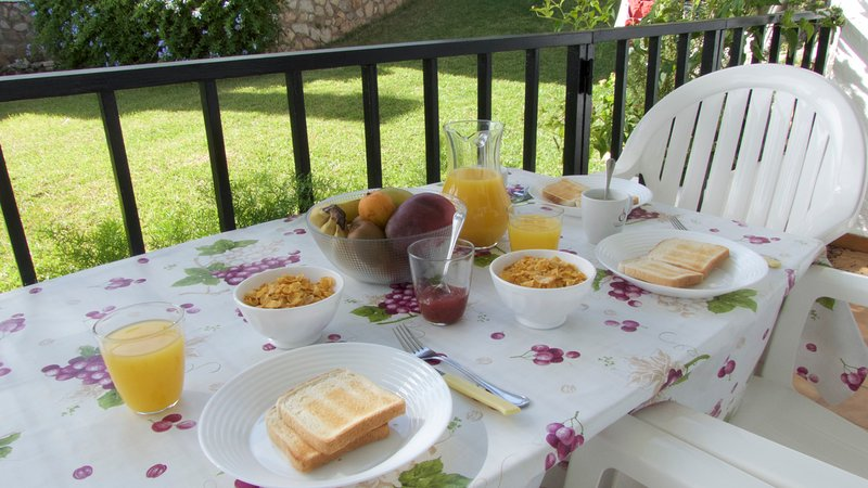 The breakfast ready with views to the garden
