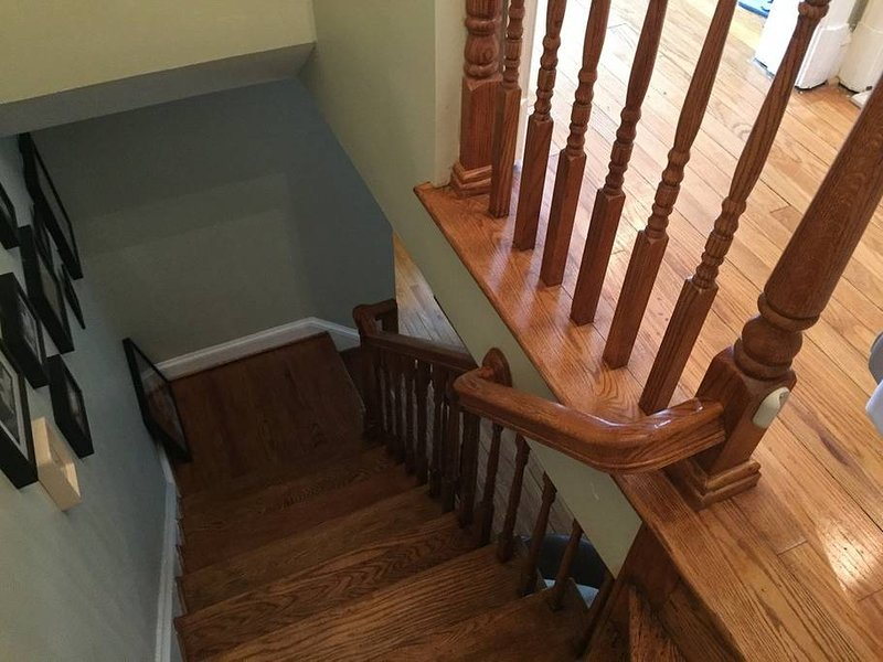 steps going to upper floor for 3 bedrooms and 1 bathroom.