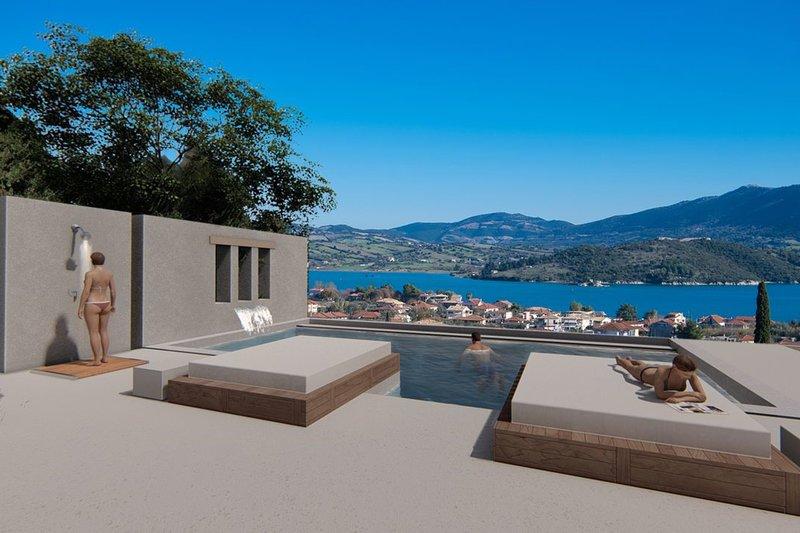 Private swimming pool with sea view of Boutique Villa Agnadi