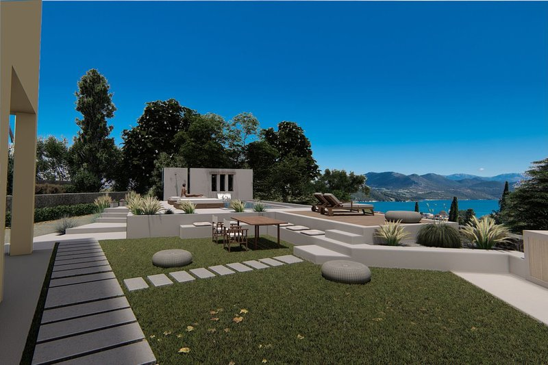 Garden  and pool area of Luxury Villa Agnadi with sea view