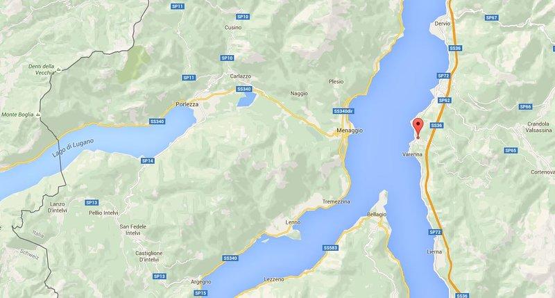 Ubicación en el lago de Como