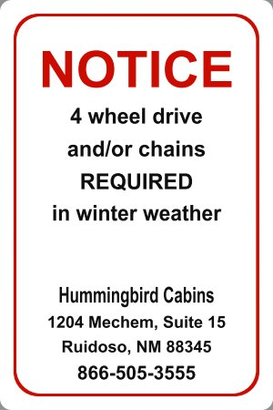In winter weather, Snow and ice , tire chains and or four wheel drive will likely be necessary.
