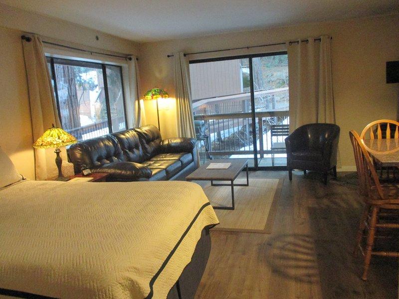 Vue de votre condo avec lit queen, grand canapé-lit et salon.