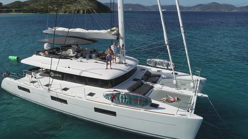 Catamaran Eclipse at anchor in the British Virgin Islands