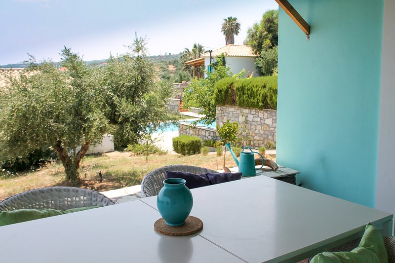 View of olive groves from balcony