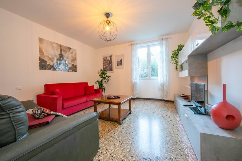 Spacious living room with sofa bed