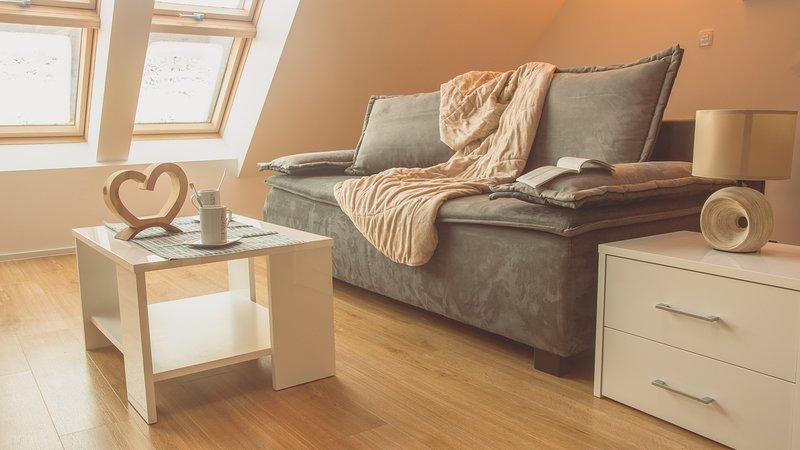 Woonkamer met comfortabele bank en airconditioning