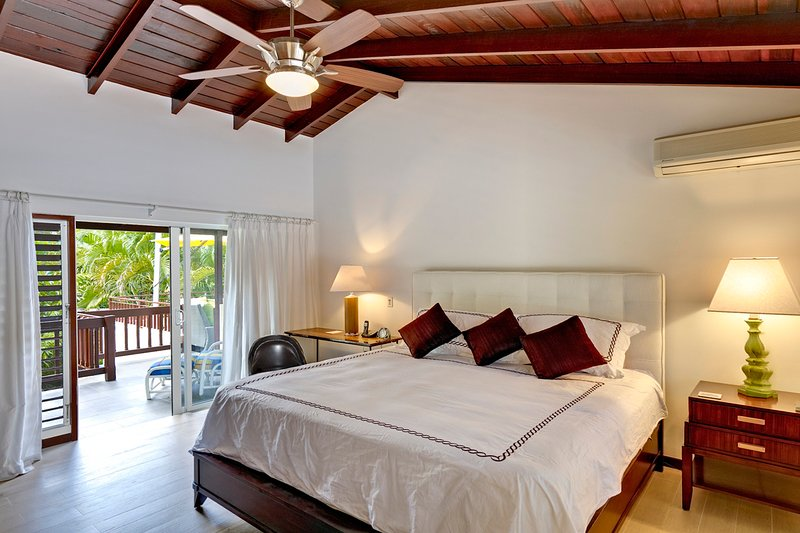 The master bedroom has a king bed, A/C, en suite and access to the sun deck