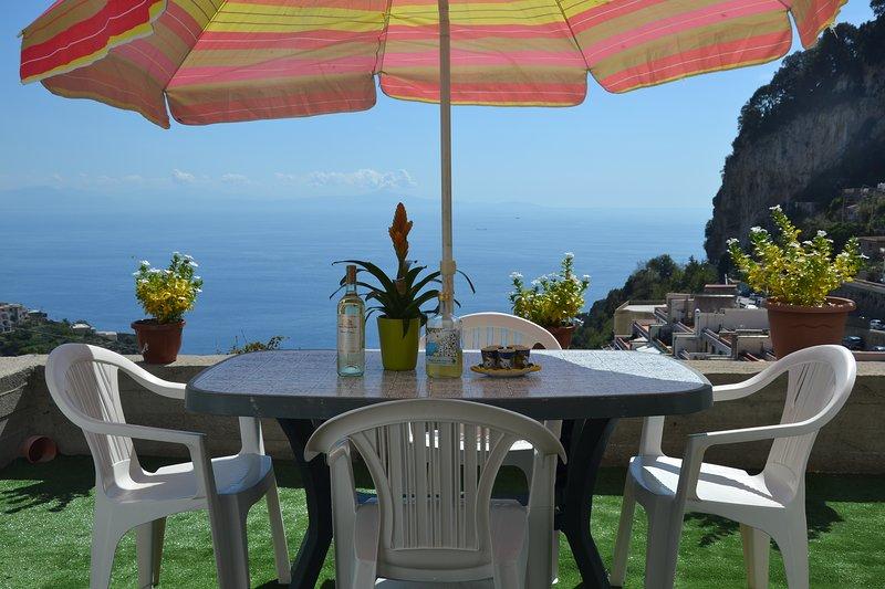 terrace with stunning view of the amalfi blu sea