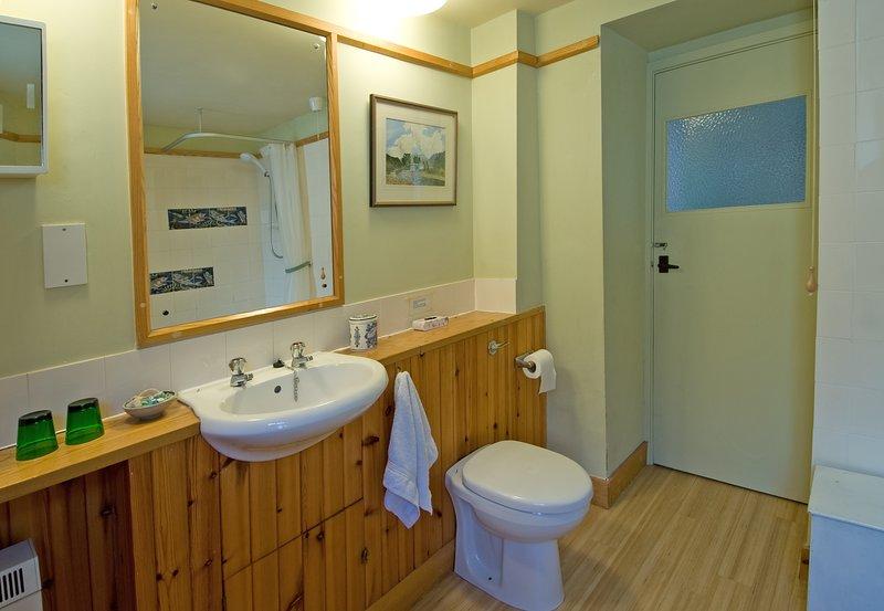 El baño con bañera y ducha.