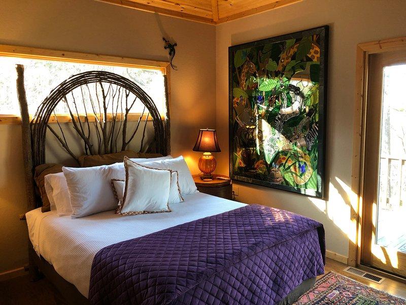 Queen Size Tempurpedic adjustable bed, back deck off bedroom