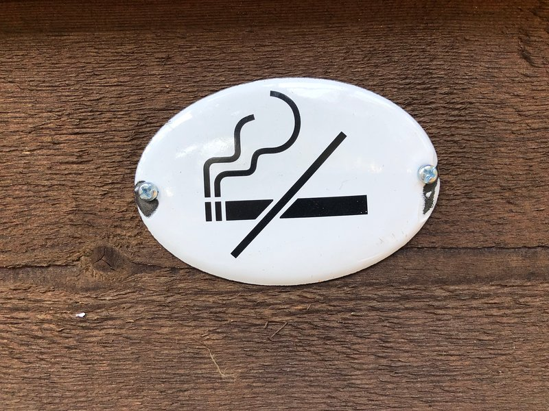 No smoking indoors, ok outside