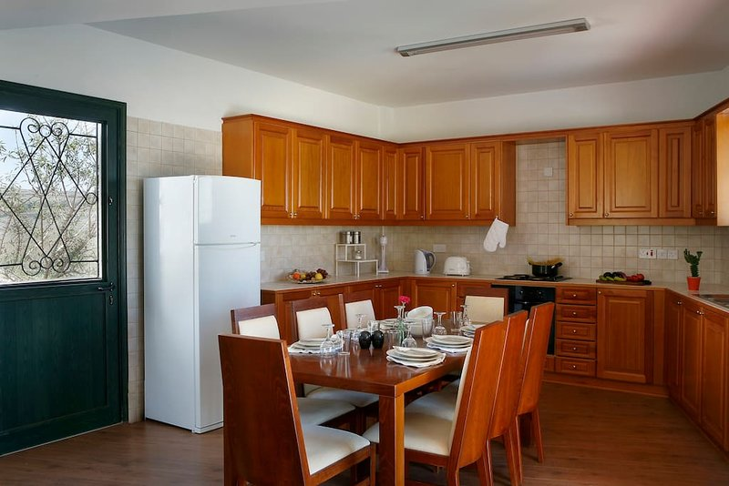 Open space kitchen with large refridgerator, microave, electric oven and hob, toaster, coffee maker