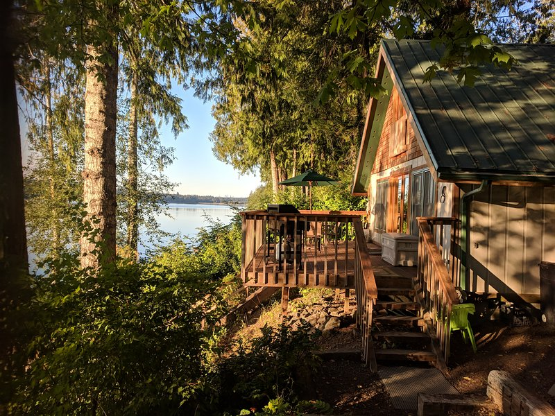 The most amazing view awaits you on the deck of this cabin in the woods!
