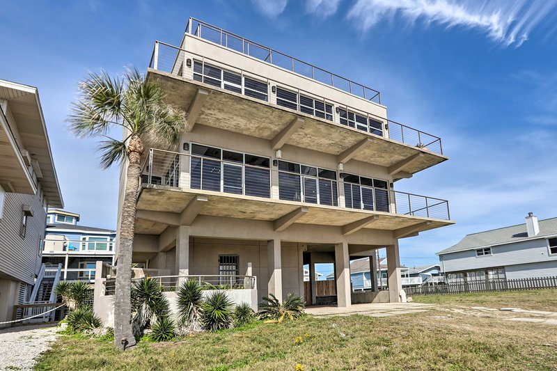 You may never want to leave this unique, oceanfront Galveston home!