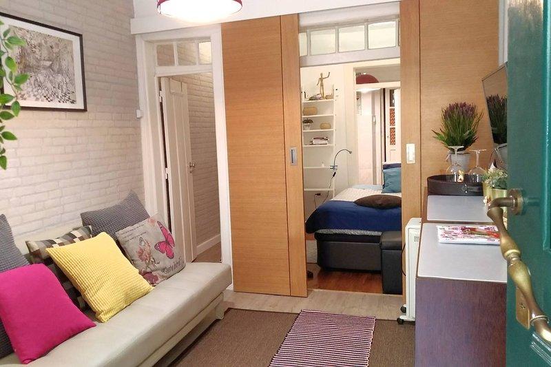 Aspecto general de la acogedora sala de estar con puerta a la habitación