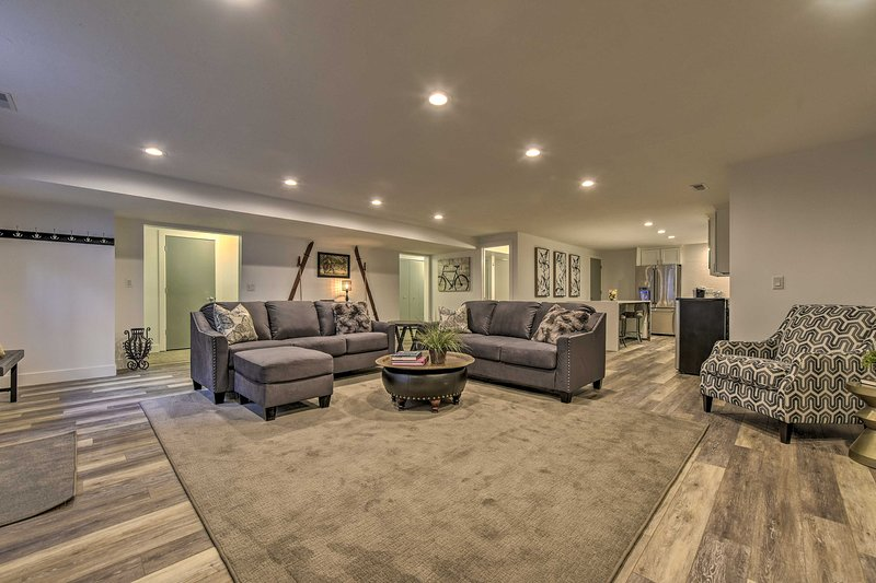 The spacious living room is just off of the kitchen.
