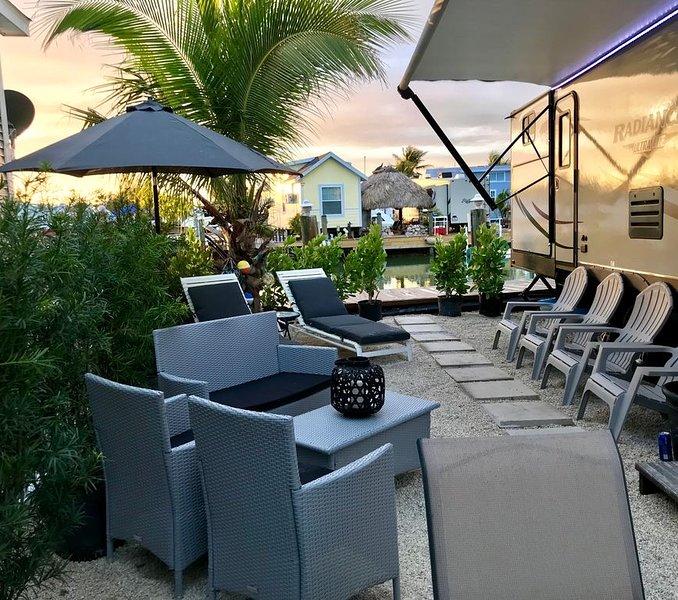 Entertaining waterfront patio