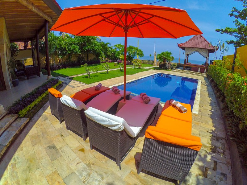 Your view of the Bali Sea while you relax by the private pool.