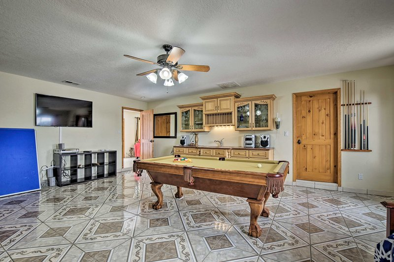 The bright home boasts accommodations for 11 guests.