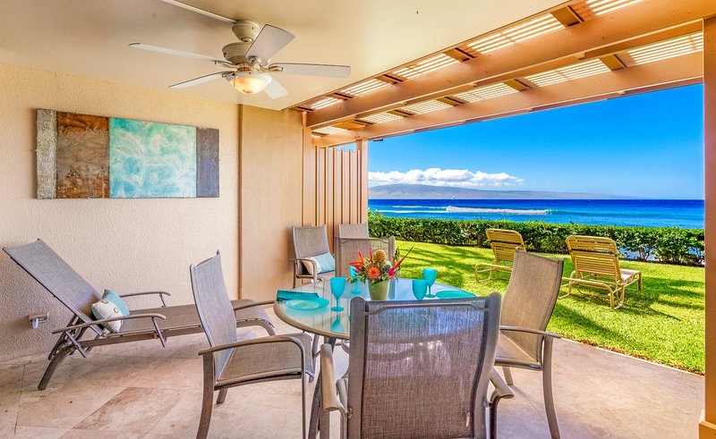 Lanai opens onto a beautiful manicured lawn, and is accessible by living room and bedroom.
