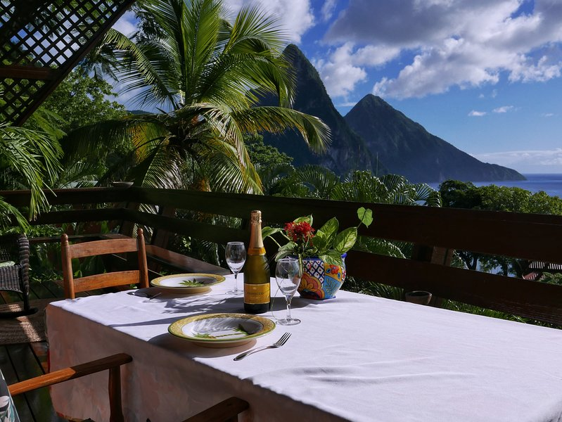 The Treehouse Hideaway Villa II provides you with amazing views of the Pitons and the ocean.