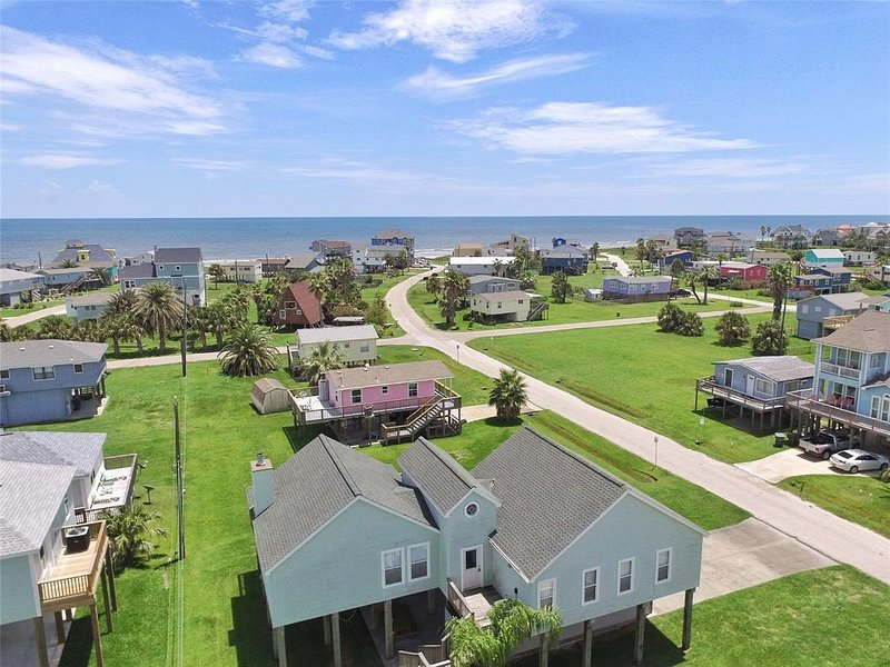 birds eye view of the house and the ocean (before we built the fence)