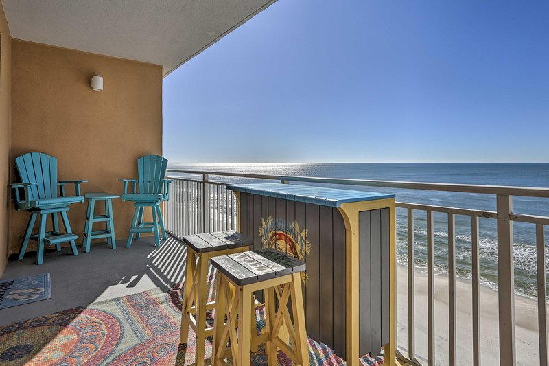 This vacation rental condo sleeps 8 and is located right on the beach.