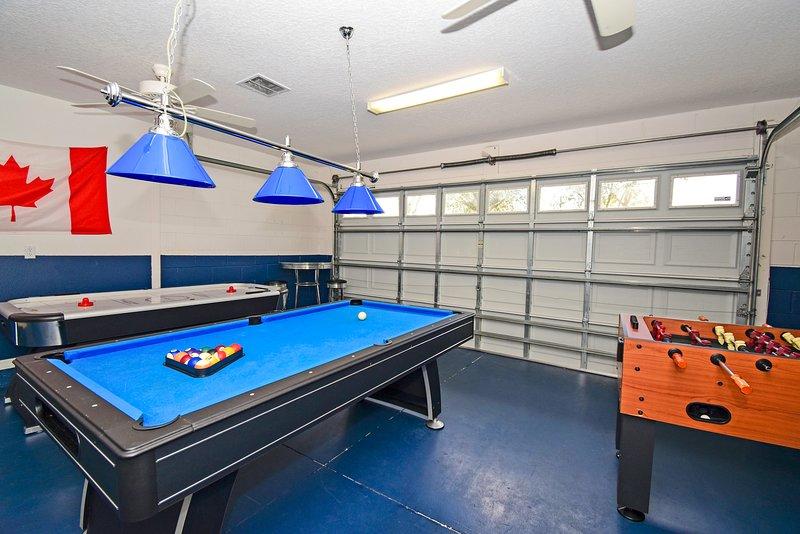Garage transformé en salle de jeux