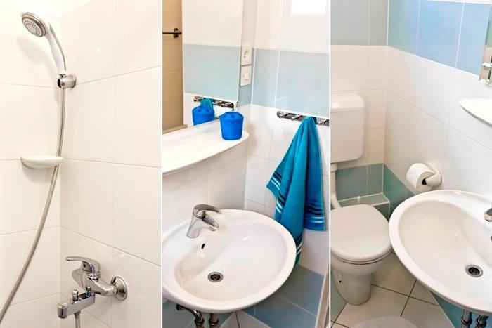 Binnen, kamer, badkamer, toilet, wastafel