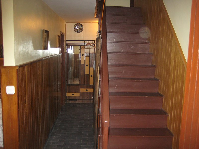 Scalinata, pavimenti, legno duro, pavimento, corrimano