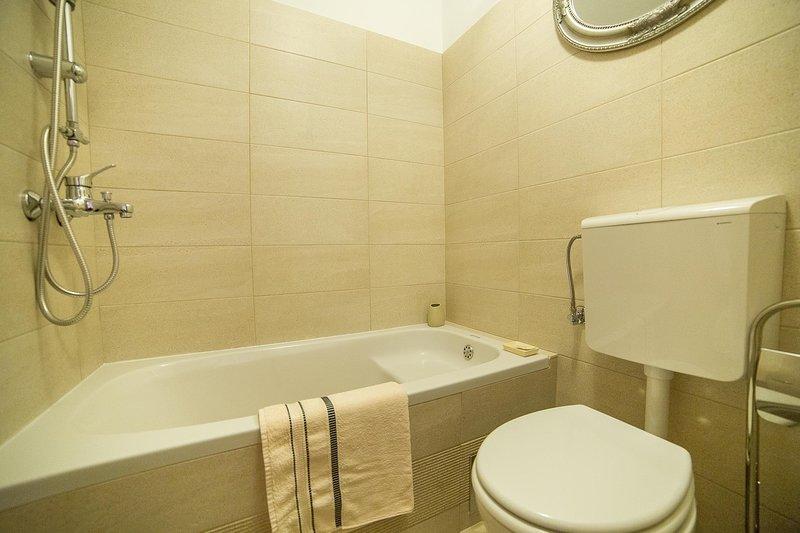 Camera, interna, vasca da bagno, idromassaggio, bagno