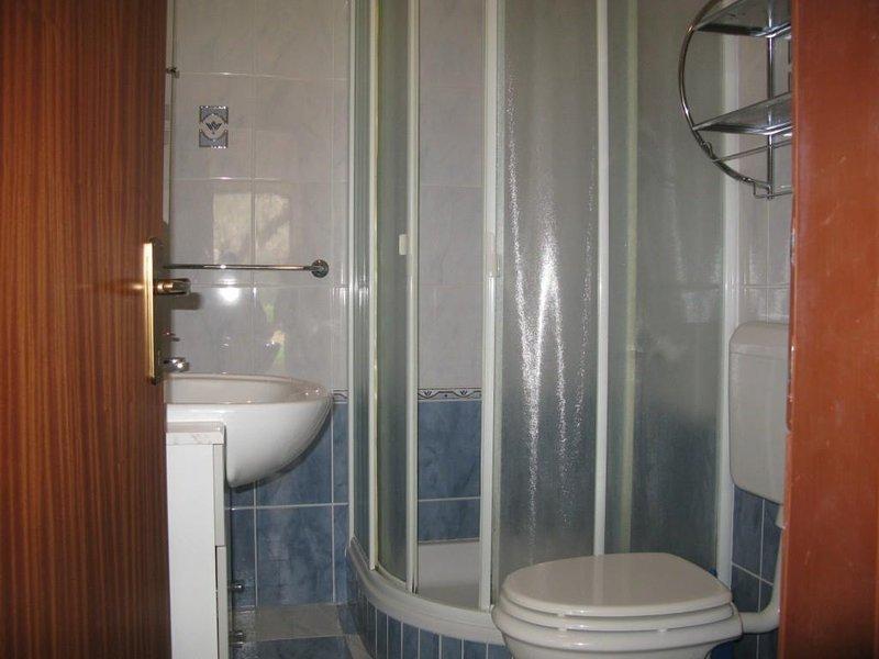 Chambre, intérieur, salle de bains, toilettes, porte