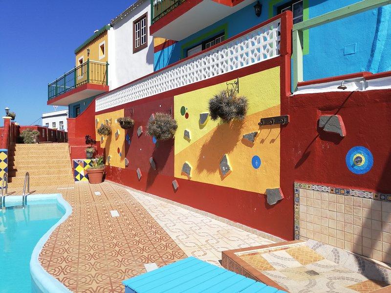 Tkasita Galicia 3. Piscina, Vistas al Mar y Montañas. La Palma, Islas Canarias, casa vacanza a San Andres y Sauces