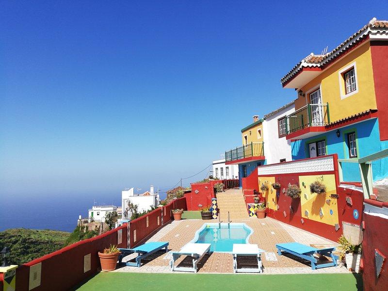 Tkasita Galicia 1. Piscina, Vistas al Mar y Montañas. La Palma, Islas Canarias, casa vacanza a San Andres y Sauces