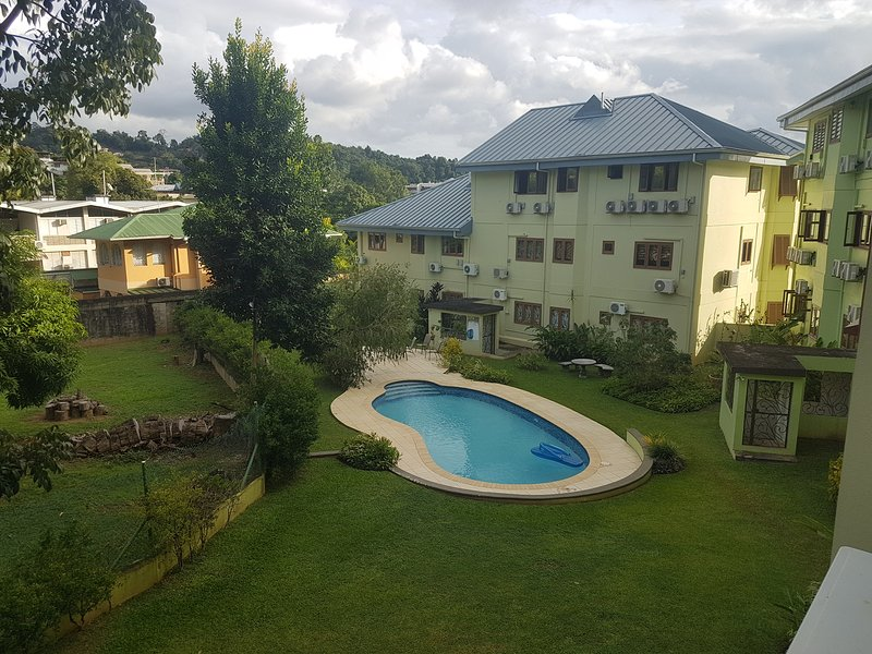 Manicured grounds, secluded pool and secure compound at The Huttons