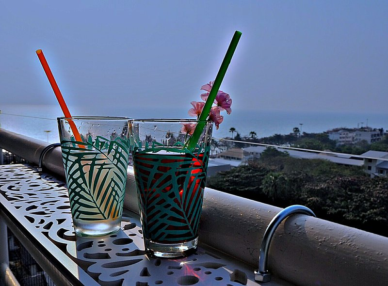 nice drink on the balcony