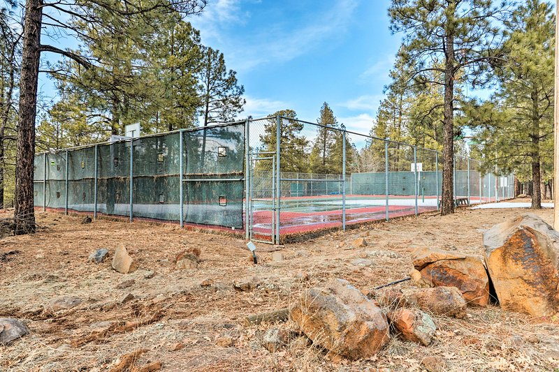 The community also includes tennis courts.