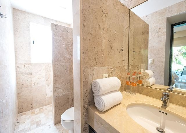 Guest bathroom with bath products provided