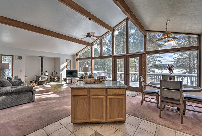 The property looks out to forest views and features all the comforts of home.