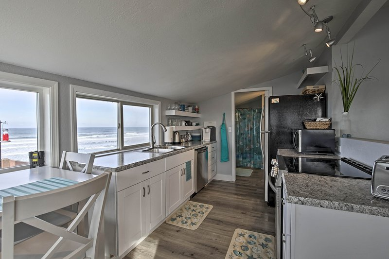 This modern vacation rental has 2-bedrooms, 1-bathroom, and sleeps 6 guests!