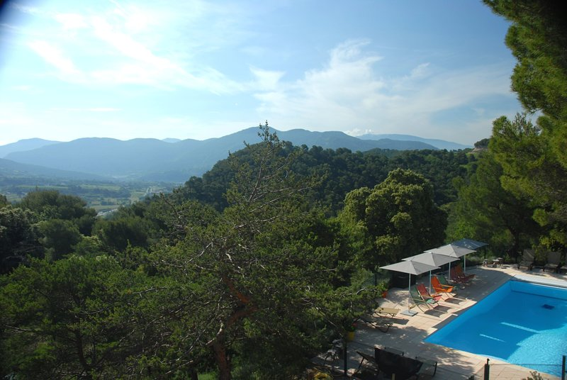 Magnificent view of the terrace on the massif of Baronnies and Mont Ventoux