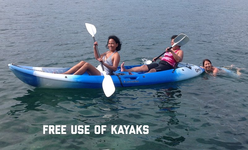 Free kayaks for you to have fun and explore the coastline and the nearby islands