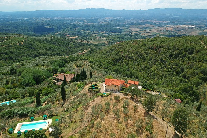 Aerial view with Valdarno valley and Chianti hills