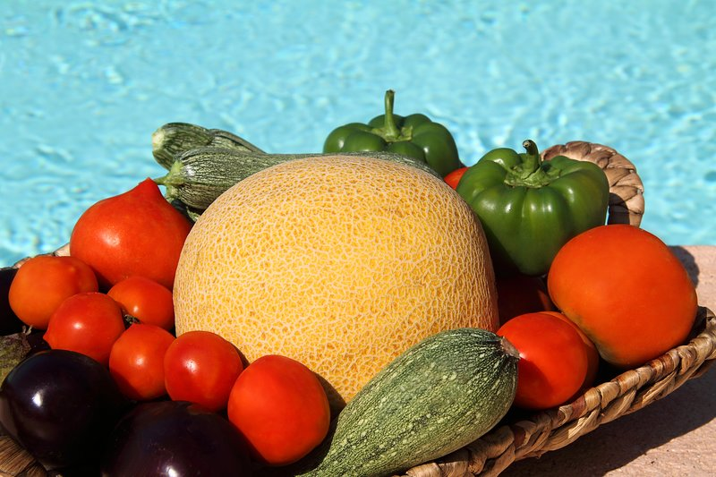 Fresh fruits and vegetables from our garden