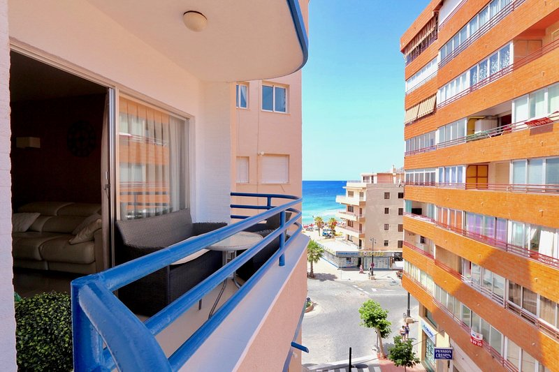 View from the balcony of the 3-bedroom apartment in Calpe just 50 meters from the central beach